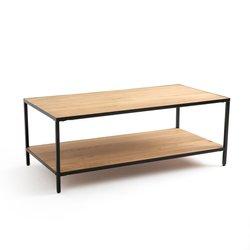 Ορθογώνιο χαμηλό τραπεζάκι από ξύλο δρυ και μέταλλο, Nova