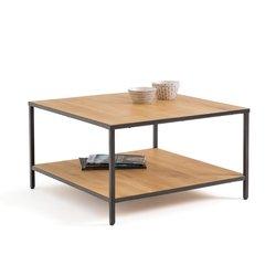 Τετράγωνο χαμηλό τραπεζάκι από ξύλο δρυ και μέταλλο, Nova