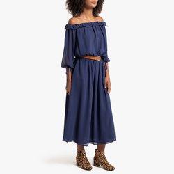 Μίντι φόρεμα με λαιμόκοψη χαμόγελο και μανίκια μέχρι τους αγκώνες