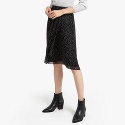 Ίσια φούστα με πουά και ντραπέ σχέδιο