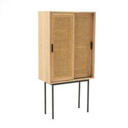 Ντουλάπι από ξύλο δρυ με 2 πόρτες από ψάθα, WASKA