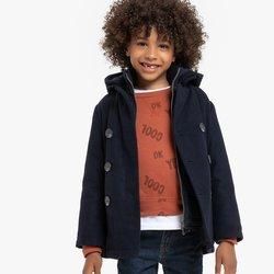 Μάλλινο μπουφάν με κουκούλα και μελανζέ όψη, 3-12 ετών