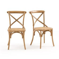 Σετ 2 καρέκλες από ξύλο δρυ και ψάθα, Cedak