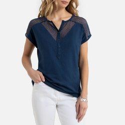 Μπλούζα με δαντέλα και κουμπιά στη λαιμόκοψη