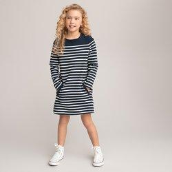 Ίσιο φόρεμα από φανέλα με ρίγες, 3-12 ετών