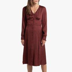 Μακρυμάνικο μίντι φόρεμα με V λαιμόκοψη