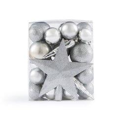 Κουτί με 33 χριστουγεννιάτικα ασημί στολίδια, Caspar