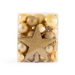 Σετ με 33 χρυσαφί χριστουγεννιάτικα στολίδια, Caspar